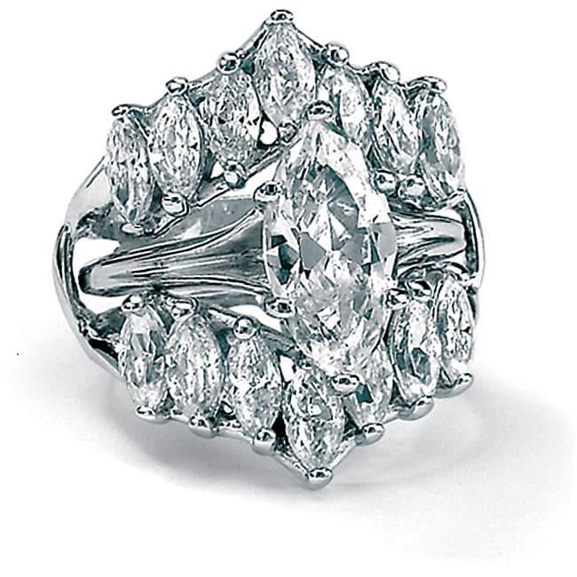 5.98 TCW Marquise-Cut Cubic Zirconia Sterling Silver Bridal Engagement Ring Set Glam CZ