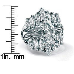 5.98 TCW Marquise-Cut Cubic Zirconia Sterling Silver Bridal Engagement Ring Set Glam CZ - Thumbnail 1