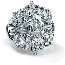 PalmBeach 5.98 TCW Marquise-Cut Cubic Zirconia Sterling Silver Bridal Engagement Ring Set Glam CZ