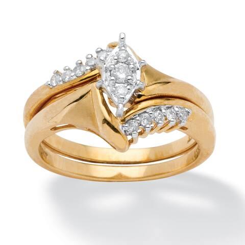 1/5 TCW Round Diamond 10k Yellow Gold 2-Piece Bridal Engagement Wedding Ring Set