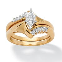 1/5 TCW Round Diamond 10k Yellow Gold 2-Piece Bridal Engagement Wedding Ring Set