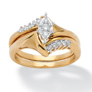 Bon 1/5 TCW Round Diamond 10k Yellow Gold 2 Piece Bridal Engagement Wedding Ring