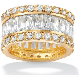 9.34 TCW Emerald-Cut Cubic Zirconia Eternity Band in 18k Gold over .925 Silver Glam CZ