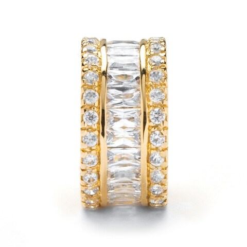 Yellow Gold over Sterling Silver Cubic Zirconia Bridal Ring - White