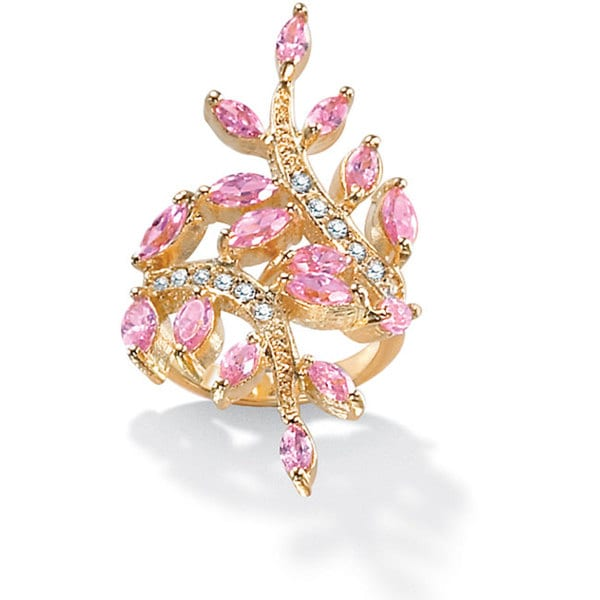 3.40 TCW Marquise-Cut Pink Cubic Zirconia with Crystal Accents Leaf Ring in 14k Gold-Plate