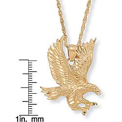 "Men's Eagle Pendant and Chain in Yellow Gold Tone 24"" - Thumbnail 1"
