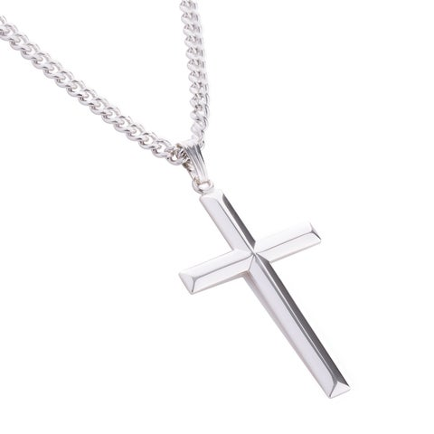 Sterling Silver and Stainless Steel Men's Cross Pendant