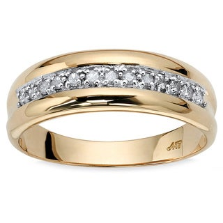 10k Yellow Gold Men's 1/5ct TDW Round Diamond Wedding Band
