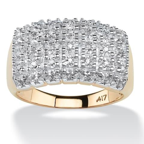 10K Yellow Gold Round Genuine Diamond Pave Cluster Ring - White