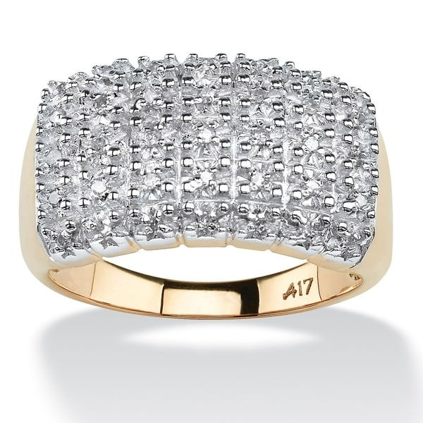7c8f37c5f79277 Shop 10K Yellow Gold Round Genuine Diamond Pave Cluster Ring - White - On  Sale - Free Shipping Today - Overstock - 5327368