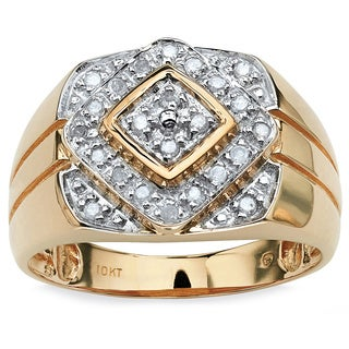 PalmBeach Men's 1/4 TCW Round Diamond Geometric Ring in 10k Gold