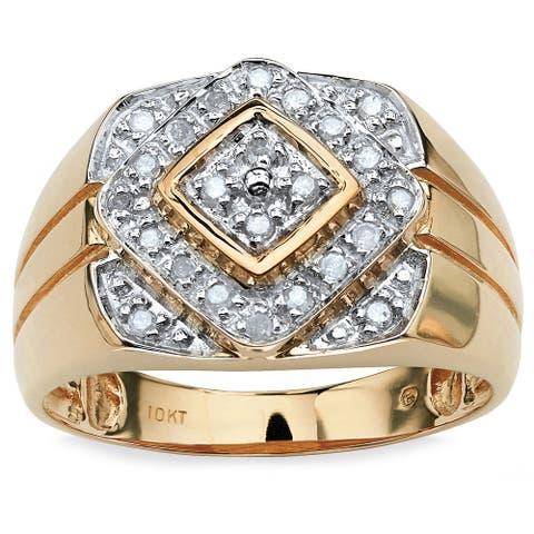 10k Yellow Gold Men's 1/4ct TDW Diamond Geometric Ring