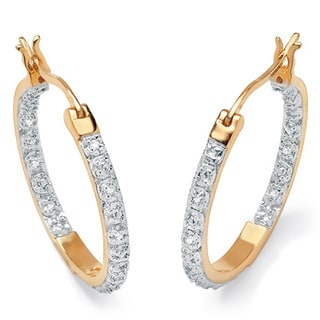 PalmBeach 1/10 TCW Round Diamond Accented Inside-Out Hoop Earrings in 18k Gold over Sterling Silver