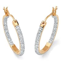 1/10 TCW Round Diamond Accented Inside-Out Hoop Earrings in 18k Gold over Sterling Silver