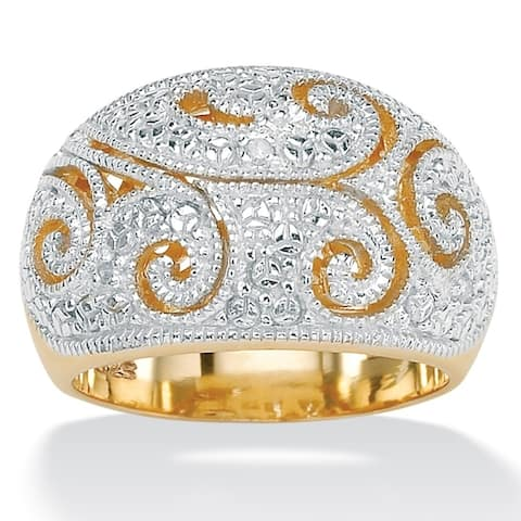 Yellow Gold over Sterling Silver Diamond Accent Filigree Dome Ring - White