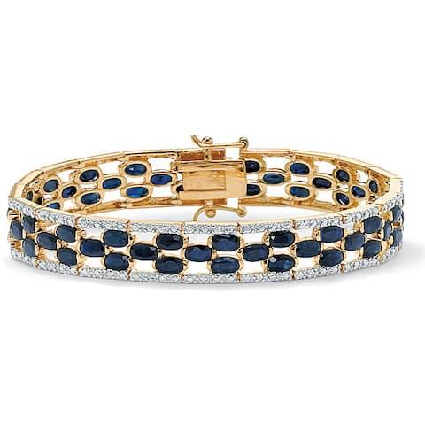 "20.65 TCW Oval-Cut Midnight Blue Sapphire 18k Gold over Sterling Silver Bracelet 7 1/4"""