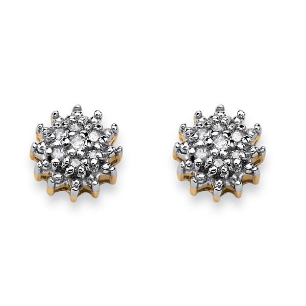 Diamond Accent Starburst Stud Earrings in 10k Gold
