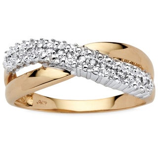 PalmBeach Diamond Accent Crossover Ring in 10k Gold