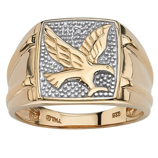 Men's Round Diamond 18k Gold over Sterling Silver Eagle Ring