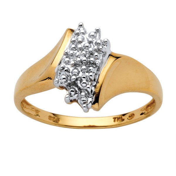 Pave Diamond Accent Cluster Ring 18k Gold over Sterling Silver