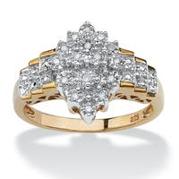 18k Gold over Silver 1/10ct TDW Diamond Cut-out Ring (G-H, I2-I3)