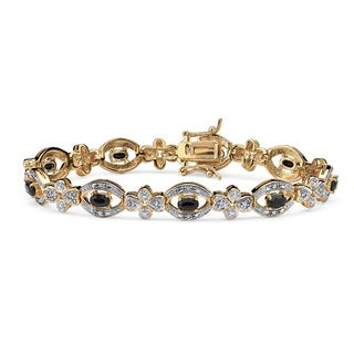 PalmBeach 3.26 TCW Oval-Cut Midnight Blue Sapphire and Diamond Bracelet in 18k Gold over Sterling Silver