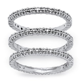 3-Piece Diamond Accented Eternity Stack Ring Set in Platinum over Sterling Silver