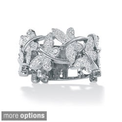 Diamond Accented Butterfly Ring in Platinum over Sterling Silver or 18k Gold over Sterling (More options available)