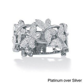Diamond Accented Butterfly Ring in Platinum over Sterling Silver or 18k Gold over Sterling (5 options available)