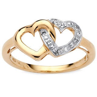 PalmBeach Diamond Accent Interlocking Heart Promise Ring in 18k Gold over Sterling Silver