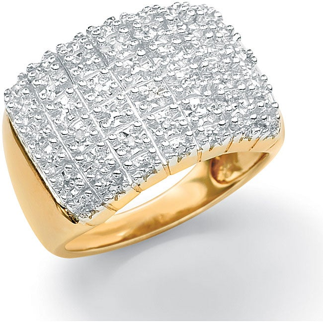 Isabella Collection 18k Gold over Silver 1/6ct TDW Diamond Pave Cluster Ring - Thumbnail 0