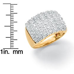 Isabella Collection 18k Gold over Silver 1/6ct TDW Diamond Pave Cluster Ring - Thumbnail 1