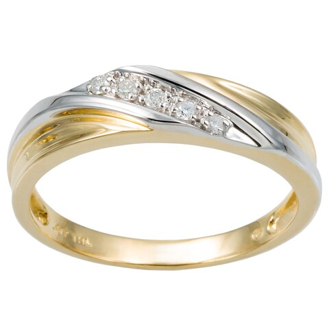 Men's 10k Two-Tone Gold 1/10 TCW Round Diamond Diagonal Wedding Band Ring