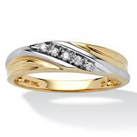 Men's 10k Two-Tone Gold 1/10 TCW Round Diamond Diagonal Wedding Band Ring