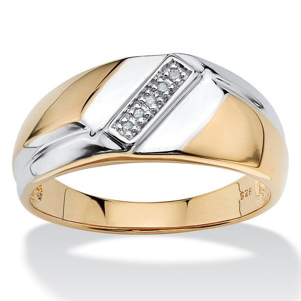 Men's Diamond Accent 18k Gold over Sterling Silver Diagonal Ring