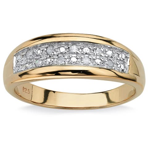 Men's 18k Gold over Sterling Silver 1/8ct TDW Pave Diamond Wedding Band