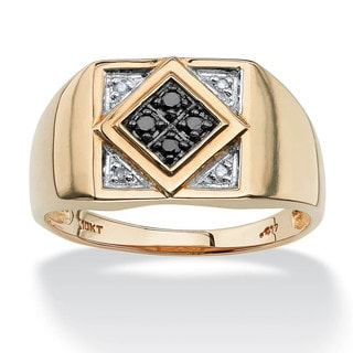 Men's .10 TCW Round Black and White Diamond Geometric Ring in 10k Yellow Gold