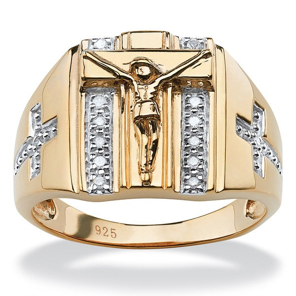 Men's 18k Gold over Sterling Silver 1/10ct TDW Round Diamond Crucifix and Cross Ring (H-I,