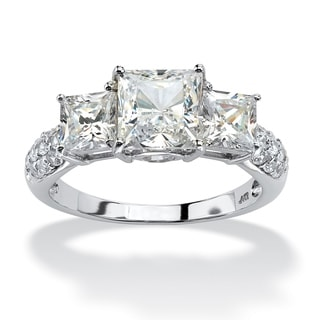 3.06 TCW Princess-Cut Cubic Zirconia Engagement Anniversary Ring in 10k White Gold Classic