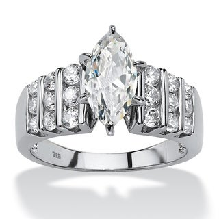 PalmBeach 2.84 TCW Marquise-Cut Cubic Zirconia Engagement Anniversary Ring in Platinum over Sterling Silver Classic CZ