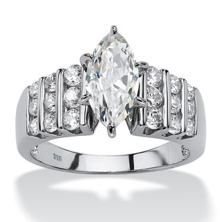 2.84 TCW Marquise-Cut Cubic Zirconia Engagement Anniversary Ring in Platinum over Sterling