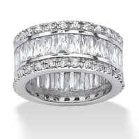 Platinum over Sterling Silver Cubic Zirconia Eternity Bridal Ring