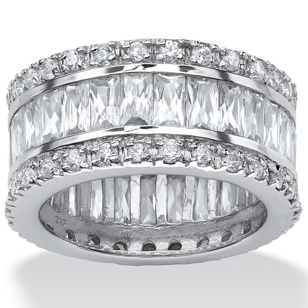 9.34 TCW Emerald-Cut Cubic Zirconia Eternity Band in Platinum over Sterling Silver Glam CZ