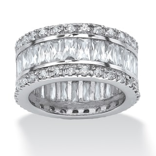 Link to Platinum over Sterling Silver Cubic Zirconia Eternity Bridal Ring Similar Items in Rings