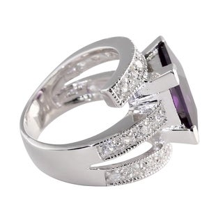 5.66 TCW Princess-Cut Purple Cubic Zirconia Sterling Silver Cocktail Ring Sizes 7-12 Color