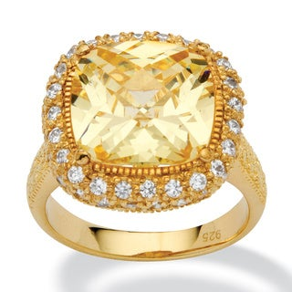4.54-Carat Cushion-Cut Canary-Colored Cubic Zirconia 18k Gold over Sterling Silver Ring Co