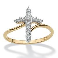 Round 10k Gold Diamond Accent Cross Ring
