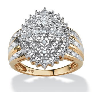 PalmBeach 1/3 TCW Round Diamond Marquise-Shaped Cluster Ring in 10k Yellow Gold