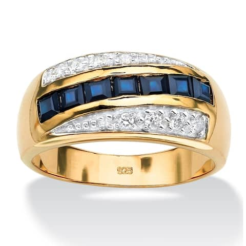 Men's Gold over Sterling Silver Sapphire and Cubic Zirconia Ring