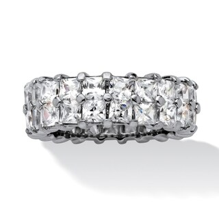 6.72 TCW Princess-Cut Cubic Zirconia Platinum over Sterling Silver Double Row Eternity Rin